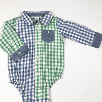 Baby Gap blue and green checked shirt body 12-18M/80
