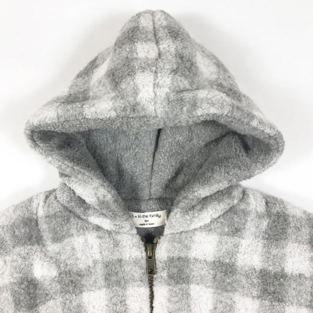 One More In the Family grey checked hooded jacket 6M