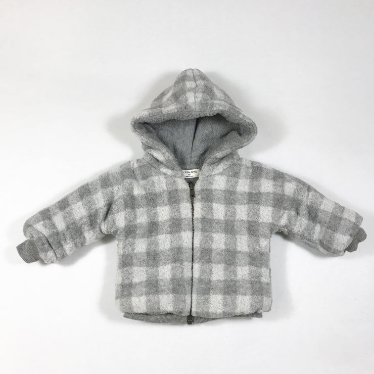 1+ In the Family grey checked hooded jacket 6M