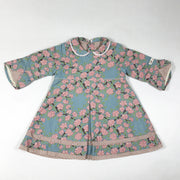 Kenzo kids blue and pink floral long-sleeved collared dress 6M/67