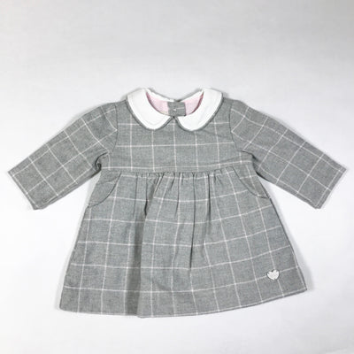 Chicco grey checked long-sleeved collared dress 3M/56