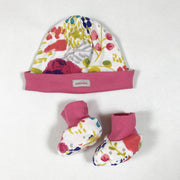 Catimini pink floral newborn hat and bootie set T0