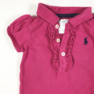 Ralph Lauren dark pink short-sleeved polo body with frill detail 3M