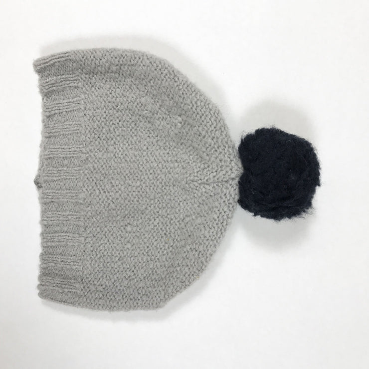1+ In The Family grey knitted hat with black pompom size 2