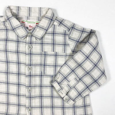 Bonpoint grey and blue checked long-sleeved shirt 12M