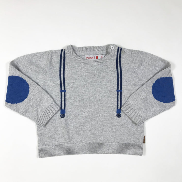 Boboli grey knit pullover with suspender application 18M/86