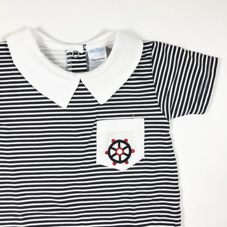 Sardon navy striped romper with collar 12M