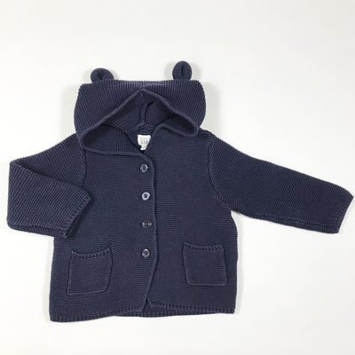 Baby Gap navy hooded cardigan 12-18M/80