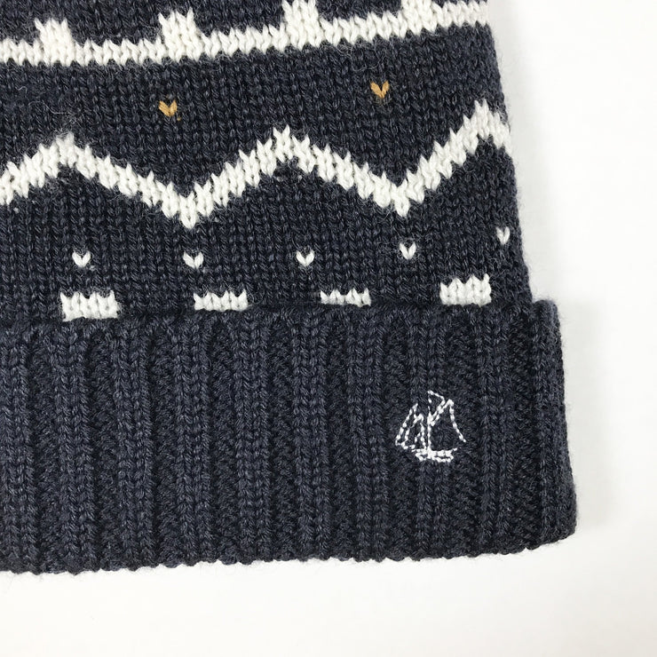 Petit Bateau blue fleece-lined knitted hat with pompom size 50
