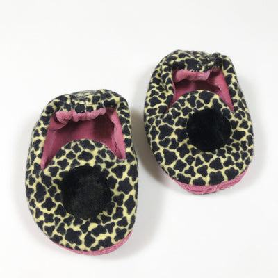 Tiger Swiss animal/pink baby slippers with pom pom  0-6M/10