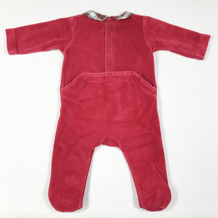 Jacadi red velvet pyjamas with feet and tartan collar 6M/67