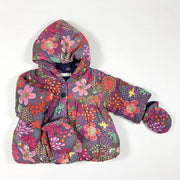 Catimini floral corduroy hooded padded jacket with mittens 3M/59
