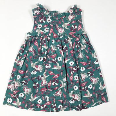 Gocco green floral print sleeveless dress with frill collar 18-24M/86