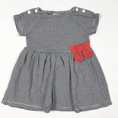 Petit Bateau blue and white short-sleeved dress with red bow 6M/67