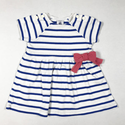 Petit Bateau white and blue short-sleeved dress with pink bow 3M/60