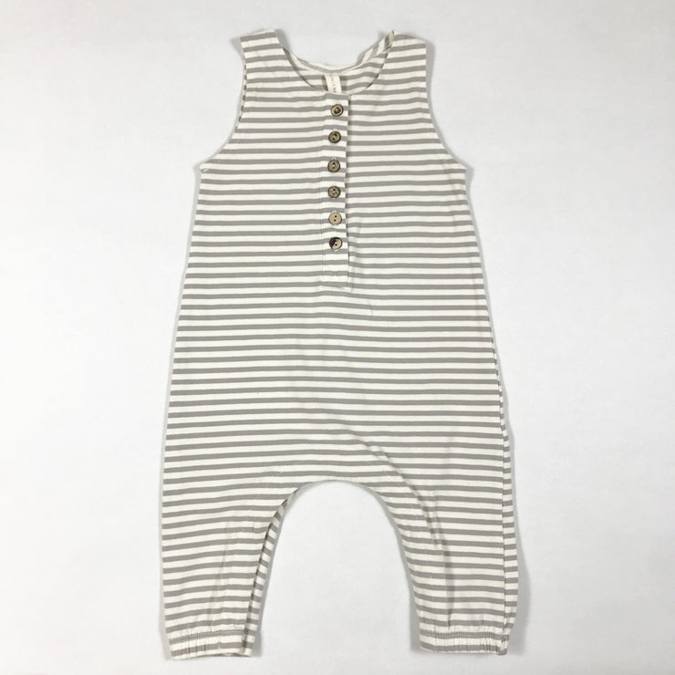 Quincy Mae ecru and grey striped sleeveless jumpsuit 3-6M