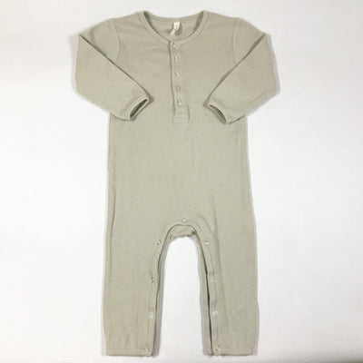 Quincy Mae beige long-sleeved ribbed jumpsuit 18-24M