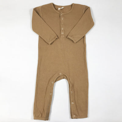 Quincy Mae terracotta long-sleeved ribbed jumpsuit 18-24M