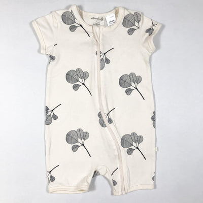 Wilson + Frenchy organic short-sleeved fan leaf print zip jumpsuit 12-18M