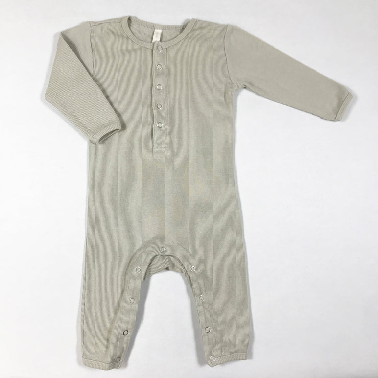 Quincy Mae beige ribbed long-sleeved jumpsuit 3-6M