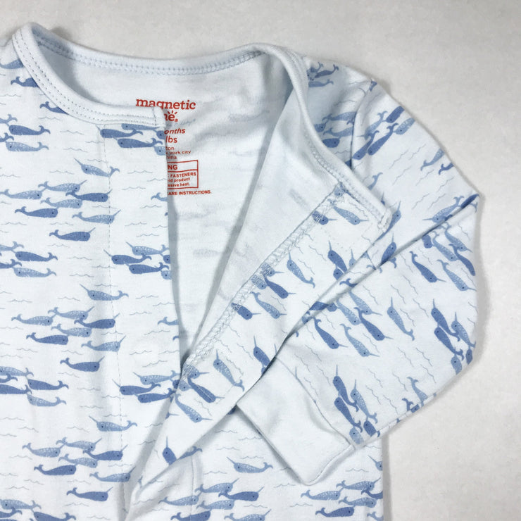 Magnetic Me white whale print long-sleeved pyjamas 9-12M