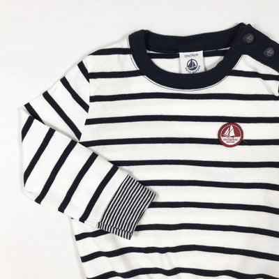 Petit Bateau blue and white striped long-sleeved t-shirt 12M/74