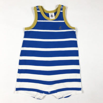 Petit Bateau sleeveless blue and white striped romper 6M/67
