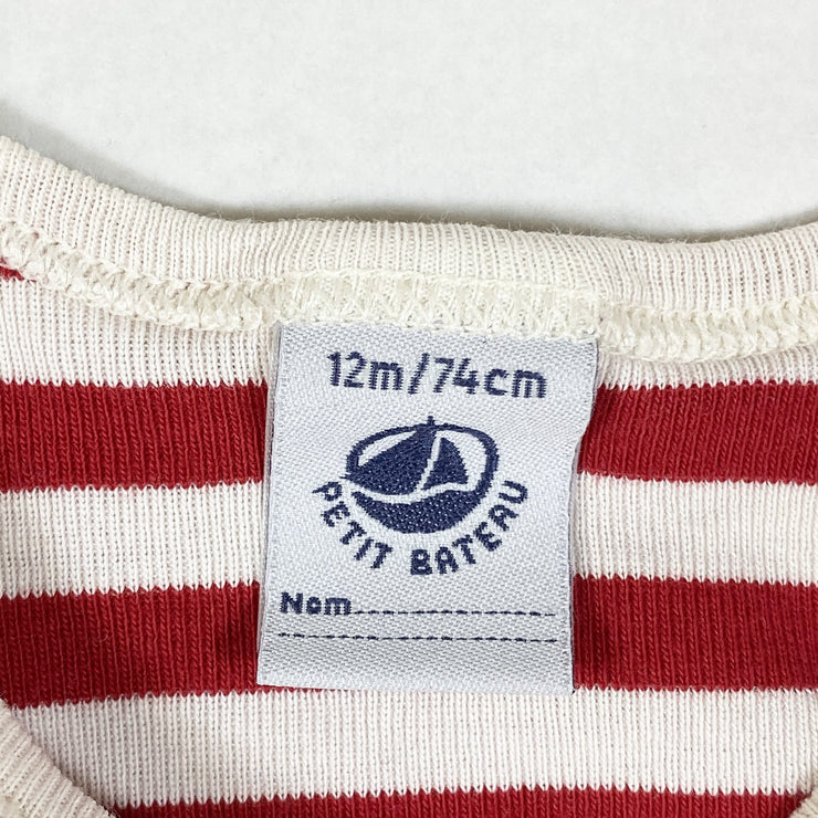 Petit Bateau red striped long-sleeved onesie 12M/74