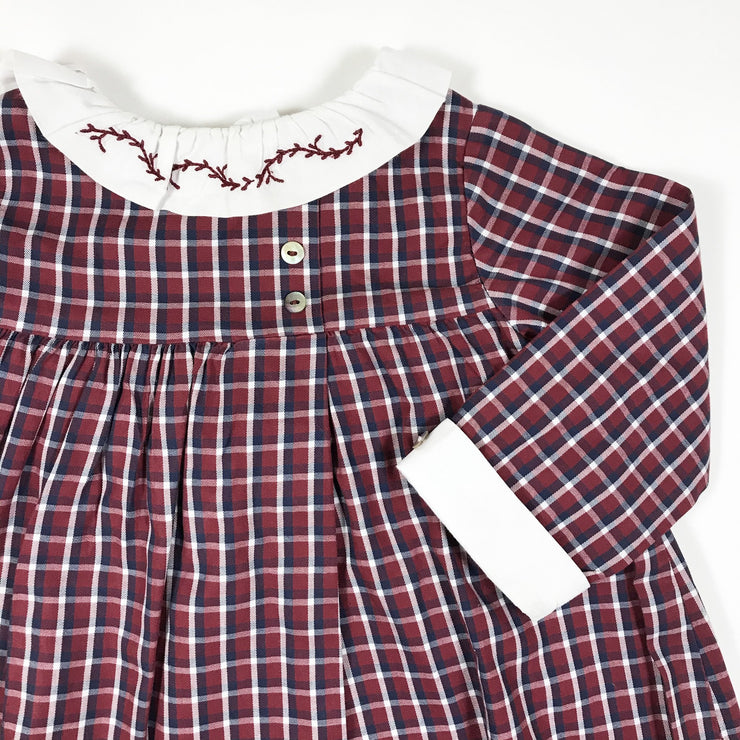 Laranjinha burgundy and blue checked long-sleeved dress with embroidered collar 9M