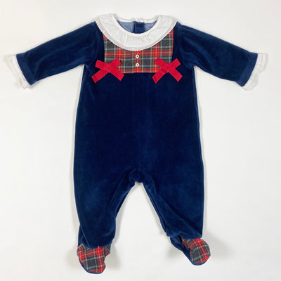 Laranjinha midnight blue velvet pyjamas with tartan detailing and collar 6M