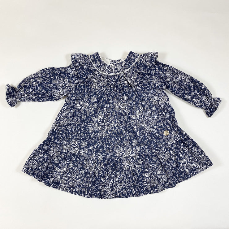Pili Carrera blue star print long-sleeved collared dress with bloomers 12M/75-82