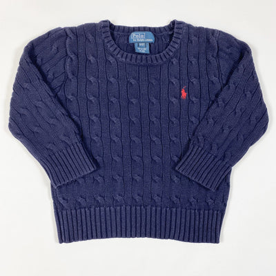 Ralph Lauren navy cable knit long-sleeved pullover 3Y