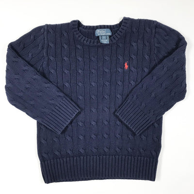 Ralph Lauren navy cable knit long-sleeved pullover 5Y