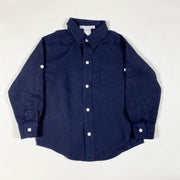 Janie and Jack navy blue long-sleeved linen shirt 2Y