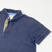 Massimo Dutti navy blue short-sleeved grandpa collar polo shirt 7-8Y/128-134