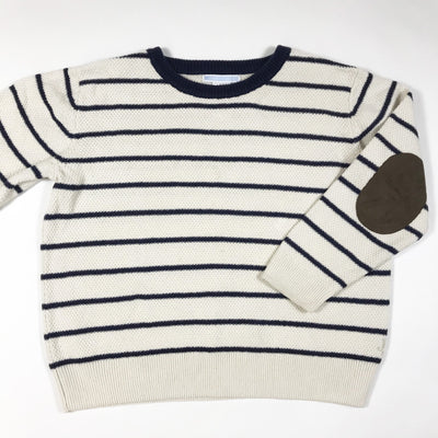 Janie and Jack ecru and blue striped knitted pullover 5Y
