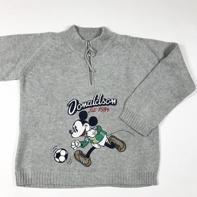 Donaldson grey knit zip pullover with Mickey mouse print 6Y