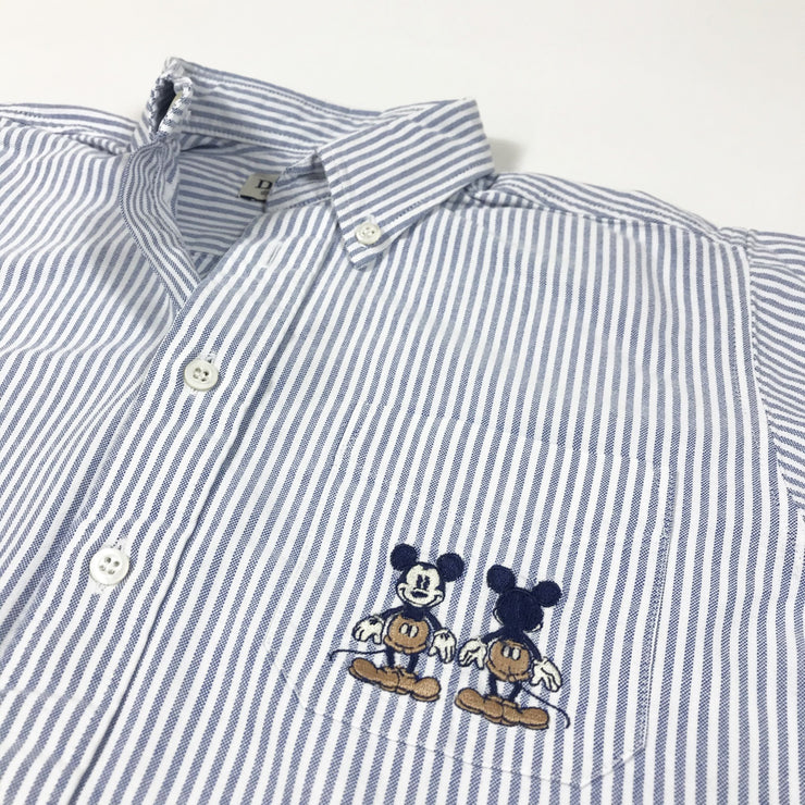 Donaldson blue and white striped long-sleeved button down oxford shirt with Mickey Mouse embroidery 8Y