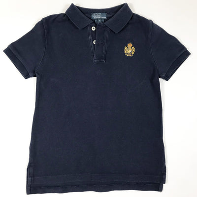 Ralph Lauren navy short-sleeved crest polo shirt 5Y