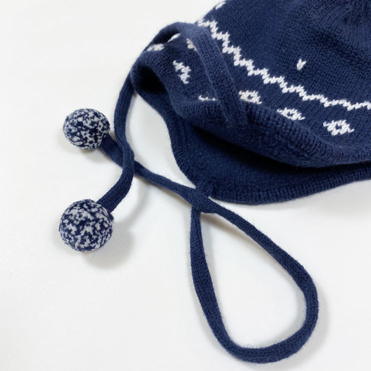 Jacadi blue fleece-lined knitted hat with pompom 41