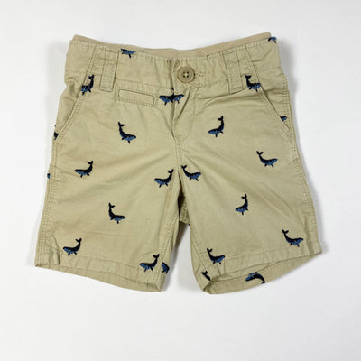 Gap beige chino shorts with whale embroidery 12-18M