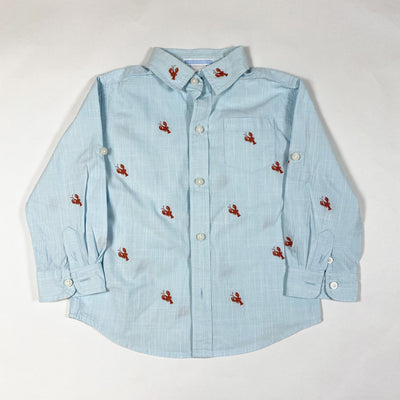 Janie and Jack light turquoise long-sleeved linen shirt with lobster embroidery 2Y