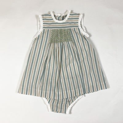 Patricia Mendiluce green and beige smocked sleeveless dress and bloomer set 9-12M