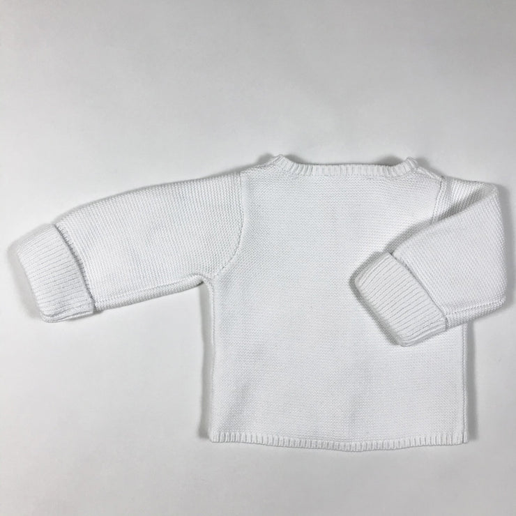 Jacadi white knitted cardigan 1M