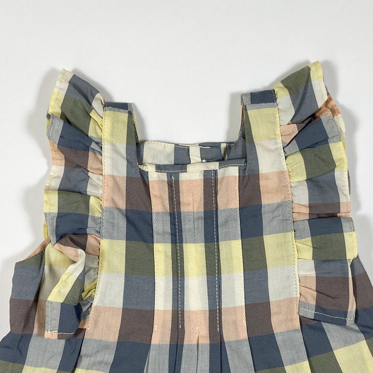 Knot yellow and grey checked romper 3M/62