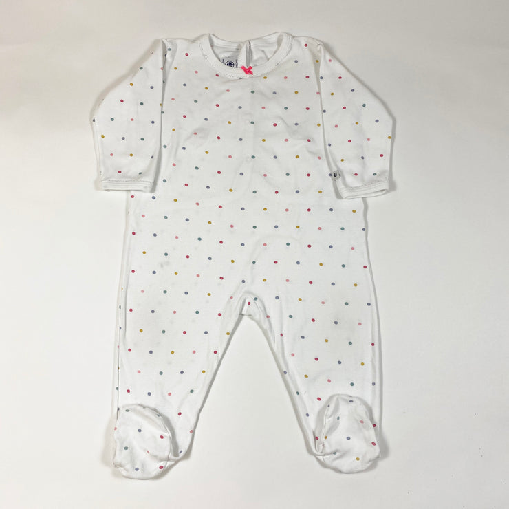 Petit Bateau white long-sleeved pyjamas with feet and colourful polka dots 12M/74