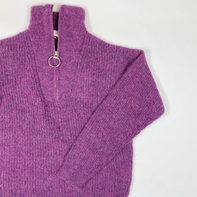 "Simple Kids purple half-zip alpaca knit jumper ""Mira"" Second Season 12Y"