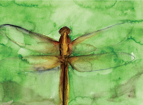 Dragonfly Watercolor Sketch Notecard PDF