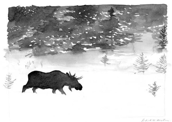 Moose In The Snow - Limited Edition Print