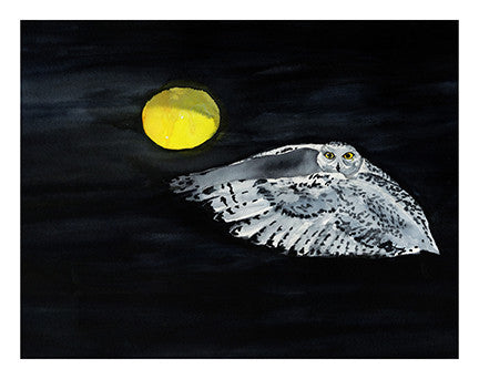 Snowy Owl, Moon Flight - Notecards